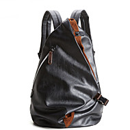 Men Bags PU Backpack Zipper for Casual All Seasons Blue Black