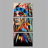 cheap Oil Paintings-Hand-Painted People Vertical, Ethnic & Interracial Canvas Oil Painting Home Decoration Three Panels