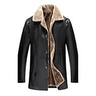 Masculino Jaquetas de Couro Casual Tamanhos Grandes Simples Vintage Outono Inverno,Sólido Longo Poliuretano Colarinho de Camisa Manga