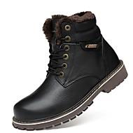 Herre sko Egte Lær Nappa Lær Lær Vinter Snøstøvler Trendy støvler Motorsykkelstøvler Ankelstøvel Fluff Fôr Støvler Ankelstøvler Til