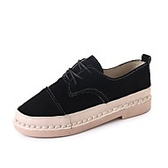 cheap Women's Oxfords-Women's Shoes Suede Fall Comfort Oxfords Flat Heel Round Toe Lace-up for Dress Black Dark Brown
