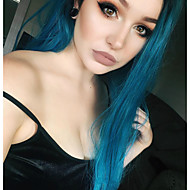 Synthetic Lace Front Wig Women's Straight Blue Synthetic Hair Blue Wig Long Lace Front Black / Sapphire Blue OUO Hair