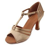 "cheap Latin Shoes-Women's Latin Satin Sandal Heel Beginner Buckle Cuban Heel Beige 1"" - 1 3/4"" Customizable"