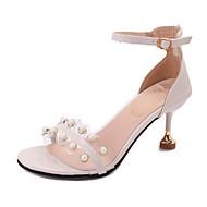 レディース 靴 PUレザー 夏 コンフォートシューズ サンダル キャットヒール オープントゥ イミテーションパール 用途 カジュアル ドレスシューズ ホワイト ピンク