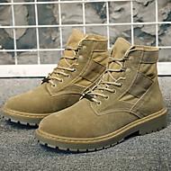 お買い得  メンズブーツ-男性用 靴 レザー 秋 / 冬 コンバットブーツ ブーツ ブラック / カーキ色
