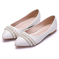 cheap Women's Flats-Women's Shoes PU Spring Fall Comfort Novelty Flats Flat Heel Pointed Toe Rhinestone Pearl Flower For Wedding Party & Evening White