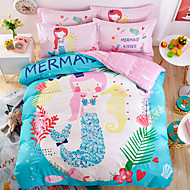 Duvet Cover Sets Cartoon Cotton Reactive Print Cotton 1pc Duvet Cover 1pc Flat Sheet 2pcs Shams (only 1pc sham for Twin)