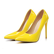 Damen Schuhe PU Frühling Herbst Komfort Neuheit High Heels Stöckelabsatz Spitze Zehe Für Hochzeit Party & Festivität Schwarz Gelb Rot