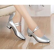 baratos Sapatilhas de Dança-Mulheres Sapatos de Dança Moderna Pele Salto Sapatos de Dança Preto / Prata / Ensaio / Prática