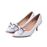 baratos Sapatos Femininos-Mulheres Sapatos Couro Ecológico Verão / Outono Conforto / Inovador Saltos Salto Agulha Peep Toe Laço Branco / Preto / Vermelho