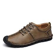 Men's Shoes Real Leather Fall Winter Comfort Sneakers Split Joint Lace-up For Wedding Casual Khaki Brown