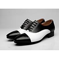 billige Moderne sko-Herre Moderne Egte Lær Oxford Utendørs Tvinning Tykk hæl Svart/Hvit Brun/Hvit 4,5 cm