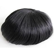 İnce cilt erkekler toupee erkek için gerçek insan saç parçaları # 1 insan saç erkek peruk
