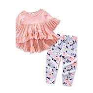 Dijete koje je tek prohodalo Djevojčice Cvijetan / Svečana odjeća Jednobojni / Cvjetni print Print Rukava do lakta Regularna Normalne dužine Pamuk / Poliester Komplet odjeće Blushing Pink