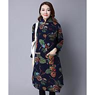 Damer I-byen-tøj Løstsiddende Kjole Trykt mønster,Høj krave Midi Langærmet Andet Forår Vinter Alm. taljede Mikroelastisk Medium