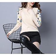 Damer I-byen-tøj Afslappet/Hverdag Lang Pullover Trykt mønster,Rund hals Langærmet Uld Forår Efterår Medium Mikroelastisk