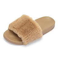 Feminino Sapatos Pêlo/Pena Verão Outono Conforto Chinelos e flip-flops Para Casual Preto Rosa claro Khaki