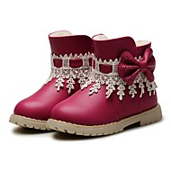 cheap Girls' Shoes-Girls' Shoes Leatherette Winter Fluff Lining Fashion Boots First Walkers Comfort Boots Bowknot Tassel for Wedding Dress Dark Blue Fuchsia