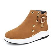 זול נעליים מידות מורחבות-נשים נעליים עור נובוק סתיו חורף מגפיים אופנתיים מגפיים מגפיים פלטפורמה בוהן עגולה מגפונים\מגף קרסול חרוזים דמוי פנינה אבזם רוכסן עבור