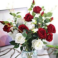 kunstig bukett flannel rose blomst for hjem dekorasjon 5 gren