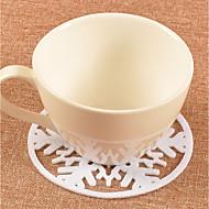 billige Bestselgere-2 stk christmas rød hvit snøfnugg briller mat drikker kopp te coaster bord dekorasjon ferie