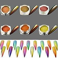 6bottles glitter spiker dekorasjon pulver glans spegel effekt skinner holografisk pigment magi kameleon shimmer diy