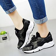 baratos Sapatos Femininos-Mulheres Sapatos Pele Napa Outono Conforto Tênis Corrida Sem Salto Ponta Redonda Cadarço Preto / Verde Tropa / Rosa claro