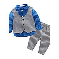 bebê Para Meninos Conjunto Casual Treliça Primavera/Outono 100% Algodão Xadrez Azul Laranja Vermelho Cinzento