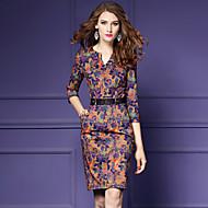 Χαμηλού Κόστους YHSP®-Γυναικεία Μεγάλα Μεγέθη Εξόδου Βίντατζ / Κομψό στυλ street / Εκλεπτυσμένο Εφαρμοστό / Θήκη Φόρεμα - Φλοράλ, Στάμπα Πάνω από το Γόνατο Λαιμόκοψη V