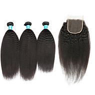Human Hair Brazilian Hair Weft with Closure Kinky Straight Hair Extensions Four-piece Suit Black