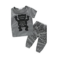 Toddler / Nemluvně Chlapecké Animák Tisk Krátký rukáv Bavlna Sady oblečení Černá