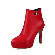 levne Nejprodávanější-Dámské Boty Personalizované materiály Jaro / Podzim Pohodlné / Módní obuv Boty Vysoký úzký Palec do špičky Kotníčkové Štras / Zip Bílá /