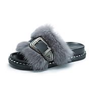 Feminino Sapatos Flanelado Outono Inverno Conforto Mocassim Chinelos e flip-flops Rasteiro Dedo Aberto Penas Presilha Para Casual Social