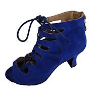 baratos Sapatilhas de Dança-Mulheres Sapatos de Dança Latina Pele Nobuck Sandália Salto Personalizado Personalizável Sapatos de Dança Preto / Azul Escuro / Vermelho
