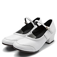 """billige Moderne sko-Dame Dansesko Nappa Lær Splitt såle Joggesko utendørs Lav hæl Hvit Svart Rød 1 """"- 1 3/4"""""""