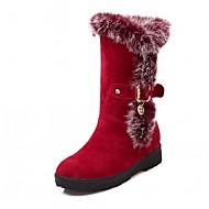 Dámské Boty Koženka Podzim Zima Módní obuv Boty Klín Kulatý palec Kotníčkové Přezky Pro Ležérní Černá Červená