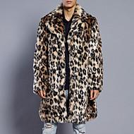 Krave Tynd Herre Lang Leopard Simple / Afslappet Plusstørrelser - Pelsfrakke Imiteret pels / Langærmet