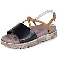 Žene Cipele PU Ljeto Udobne cipele Sandale Ravna potpetica Peep Toe za Kauzalni Crn Bež
