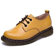 נשים נעליים עור אמיתי אוקספורד אביב קיץ נוחות נעלי אוקספורד עבור קזו'אל לבן שחור צהוב חום כחול
