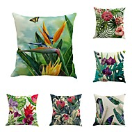 Set Of 6 Novelty Tropical Plants Flowers Pattern  Linen Sofa Cushion Cover Pillow Case