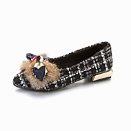 Women's Shoes Knit Cashmere Fall Comfort Flats Pointed Toe Bowknot For Casual Black White