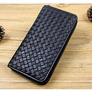 Men Bags Cowhide Wallet Zipper for Casual All Seasons Black