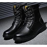 Herre sko Lær Høst Vinter Komfort Kampstøvler Støvler Til Avslappet Svart Brun