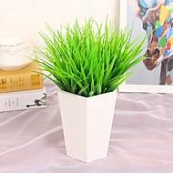 6Pcs/lot Brick Artificial Plants Green Grass 7 Fork 27cm Spring Grass