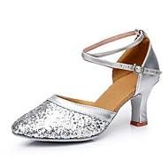 สำหรับผู้หญิง โมเดอร์น Paillette ส้น ส้นแบบกำหนดเอง ตัดเฉพาะได้ รองเท้าเต้นรำ สีทอง / เงิน / แดง / ในที่ร่ม