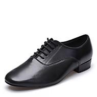 billige Men's Dance Shoes-Herre Sko til latindans Lær Høye hæler Lav hæl Dansesko Svart / Innendørs