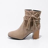 billige -Dame Sko Nubuck Skinn Vinter Trendy støvler Støvler Rund Tå Ankelstøvler Snøring Til Avslappet Formell Svart Beige Gul