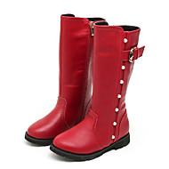 Meisjes Schoenen Echt Leer Herfst Winter Modieuze laarzen Fluff Lining Laarzen Kuitlaarzen Siernagel Gesp Voor Bruiloft Formeel Zwart