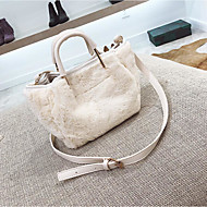 cheap Bags-Women Bags Suede Tote Zipper for Casual Winter White Black Blushing Pink Coffee