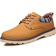 Недорогие -Для мужчин обувь Полиуретан Весна Осень Удобная обувь Туфли на шнуровке Назначение Повседневные Черный Желтый Синий